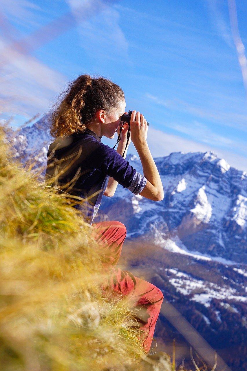 binoculars, girl, mountain